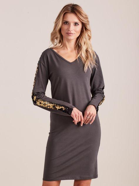 Ciemnoszara dopasowana sukienka z dekoltem V i cekinami                              zdj.                              1