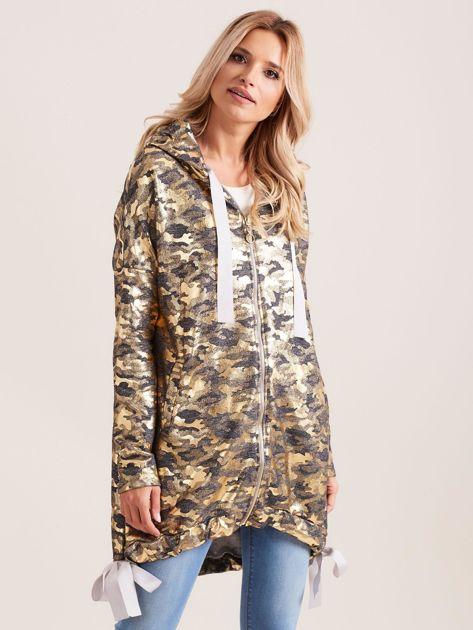 Ciemnoszara dresowa bluza z kapturem i złotym nadrukiem                              zdj.                              1