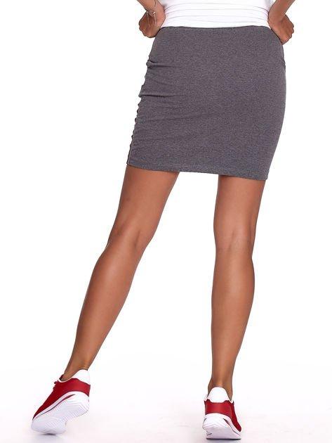 Ciemnoszara dresowa spódnica mini z kieszeniami i paskami                              zdj.                              2