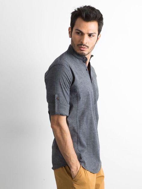 Ciemnoszara koszula męska regular fit ze stójką                               zdj.                              3