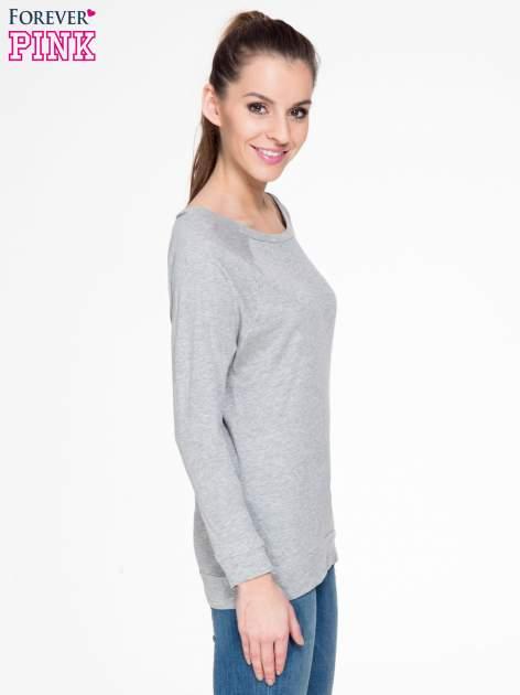 Ciemnoszara melanżowa bawełniana bluzka z rękawami typu reglan                                  zdj.                                  3