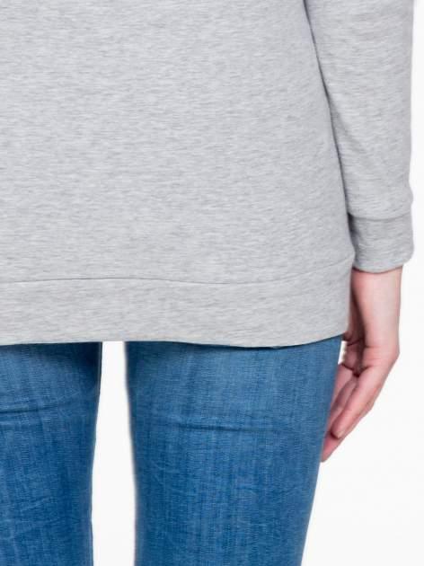 Ciemnoszara melanżowa bawełniana bluzka z rękawami typu reglan                                  zdj.                                  8