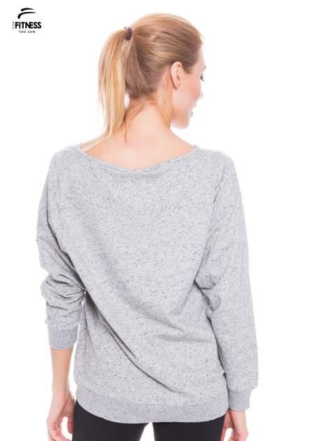 Ciemnoszara melanżowa bluza dresowa z nietoperzowymi rękawami                                  zdj.                                  3