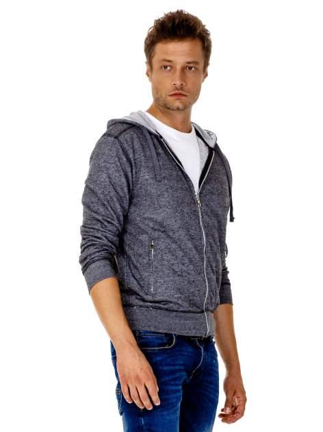 Ciemnoszara melanżowa bluza męska z zasuwanymi kieszeniami                                  zdj.                                  4