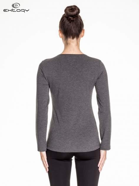 Ciemnoszara melanżowa bluzka sportowa basic PLUS SIZE                                  zdj.                                  4