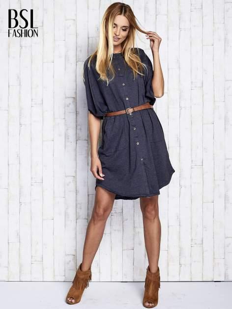 Ciemnoszara melanżowa sukienka oversize z guzikami                                  zdj.                                  2