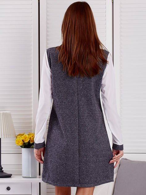 Ciemnoszara melanżowa sukienka z koszulą                                   zdj.                                  2