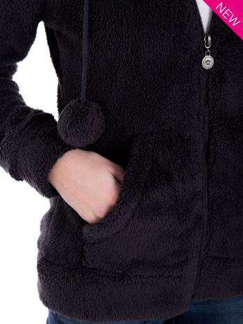 Ciemnoszara pluszowa bluza z kapturem z uszkami i pomponami                                  zdj.                                  8
