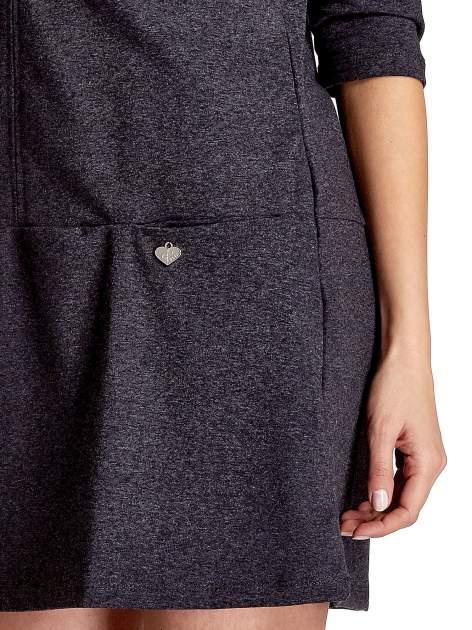 Ciemnoszara  prosta sukienka z kieszeniami                                   zdj.                                  5