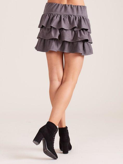 Ciemnoszara spódnica mini z falbanami                              zdj.                              2
