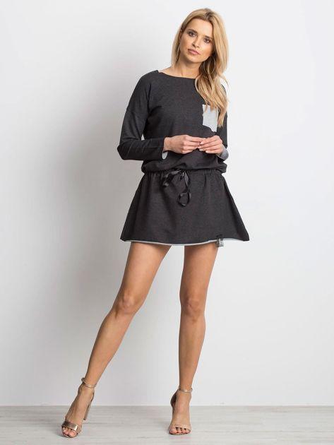 Ciemnoszara sukienka dresowa z obniżonym stanem                                  zdj.                                  4