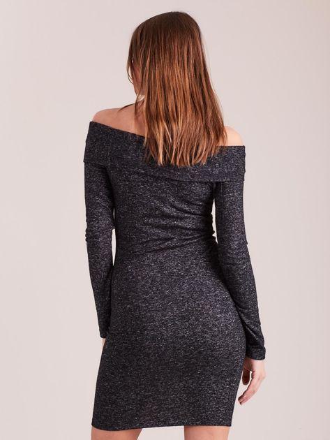 Ciemnoszara sukienka odsłaniająca ramiona                              zdj.                              2