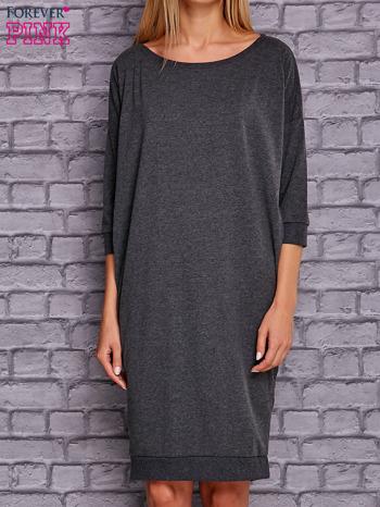Ciemnoszara sukienka oversize ze ściągaczem                                  zdj.                                  1