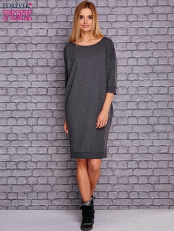 Ciemnoszara sukienka oversize ze ściągaczem                                  zdj.                                  2