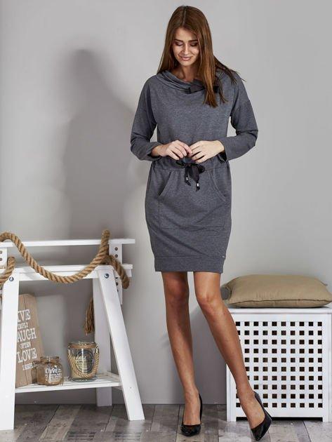 Ciemnoszara sukienka z wstążkami                               zdj.                              4