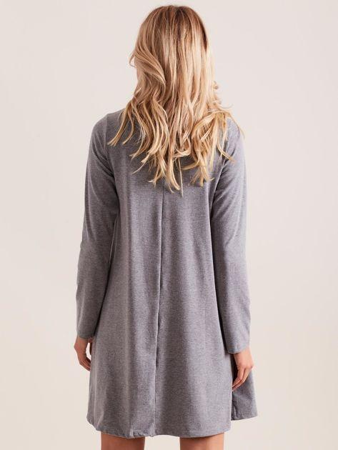 Ciemnoszara sukienka bawełniana z kokardą                              zdj.                              2