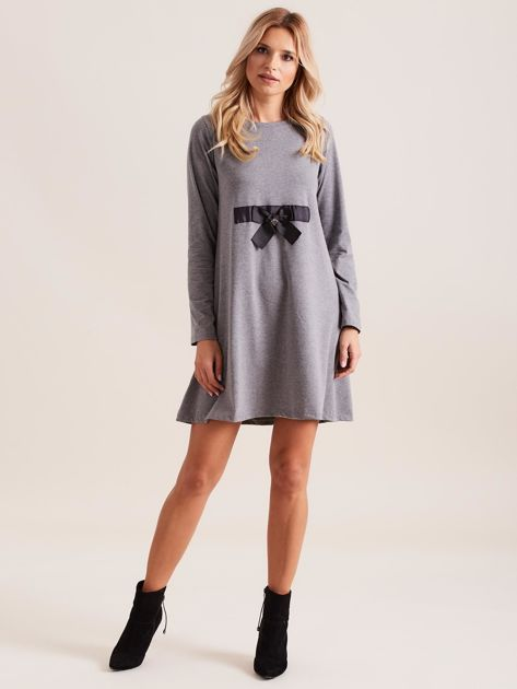 Ciemnoszara sukienka bawełniana z kokardą                              zdj.                              4