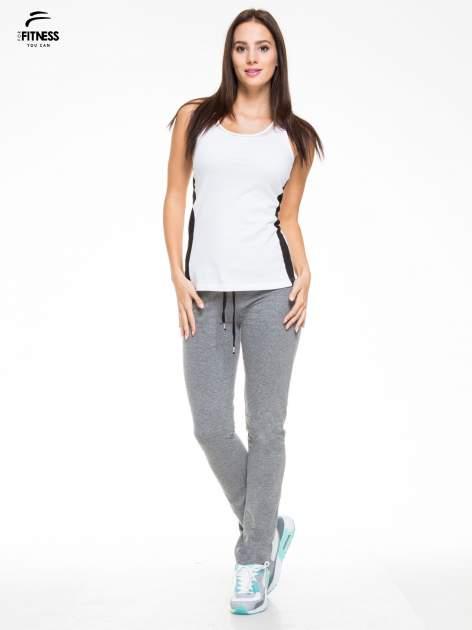 Ciemnoszare proste spodnie dresowe wiązane w pasie                                  zdj.                                  4
