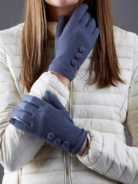 Ciemnoszare rękawiczki z guzikami                                  zdj.                                  1