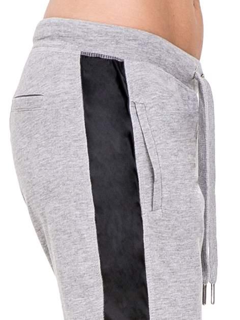 Ciemnoszare spodnie dresowe damskie ze skórzanymi lampasami                                  zdj.                                  5