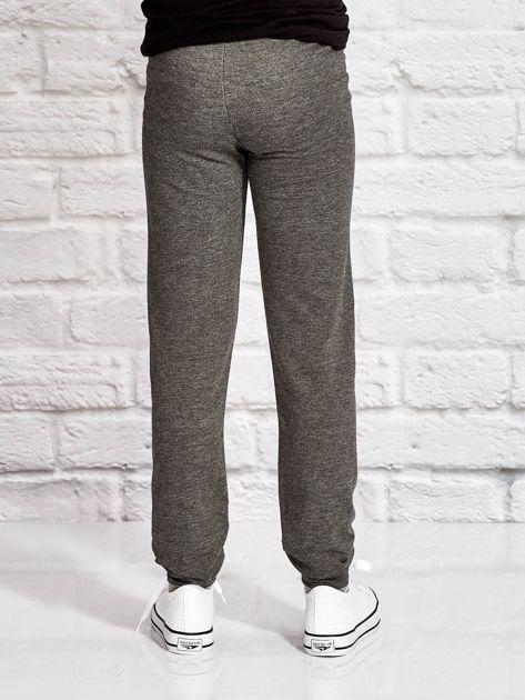 Ciemnoszare spodnie dresowe dla dziewczynki SUPER GIRL                              zdj.                              2