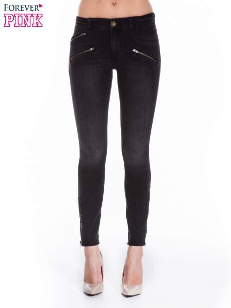 Ciemnoszare spodnie jeansowe typu skinny z suwakami na górze i przy nogawkach                                  zdj.                                  1