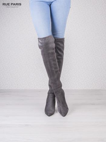 Ciemnoszare zamszowe kozaki faux suede na szpilkach wiązane w kolanach