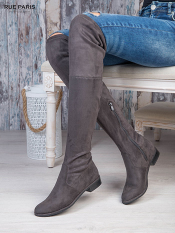 Ciemnoszare zamszowe kozaki faux suede za kolana wiązane na sznurek nad kolanem                                  zdj.                                  1