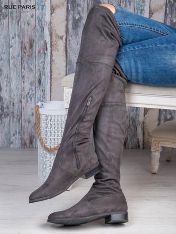 Ciemnoszare zamszowe kozaki faux suede za kolana wiązane na sznurek nad kolanem                                  zdj.                                  4