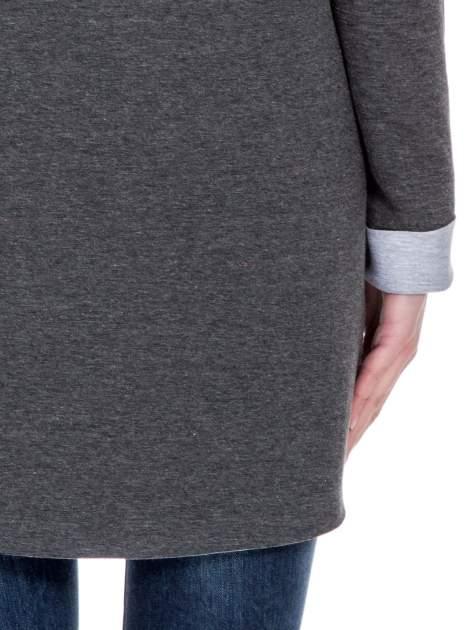 Ciemnoszary dresowy płaszcz oversize z kapturem                                  zdj.                                  8