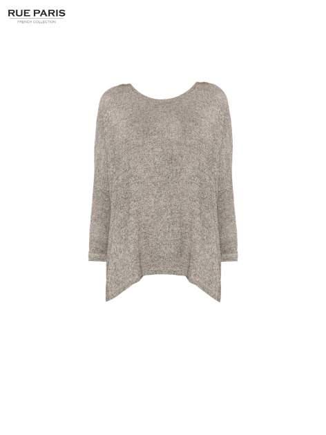 Ciemnoszary melanżowy sweter oversize o obniżonej linii ramion                                  zdj.                                  5