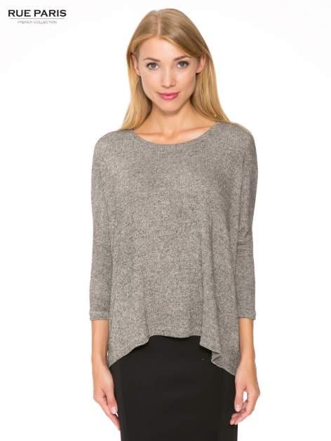 Ciemnoszary melanżowy sweter oversize o obniżonej linii ramion                                  zdj.                                  1