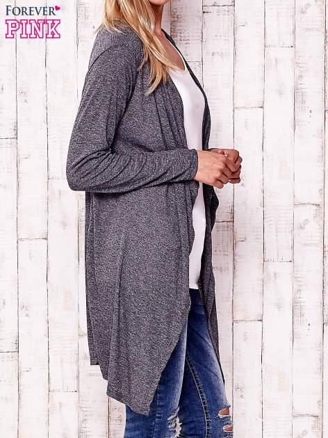 Ciemnoszary melanżowy sweter w drobne prążki                                  zdj.                                  3