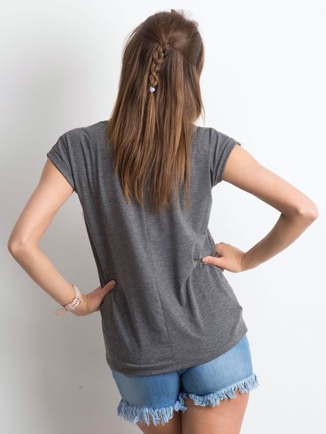Ciemnoszary melanżowy t-shirt Vibes                              zdj.                              2