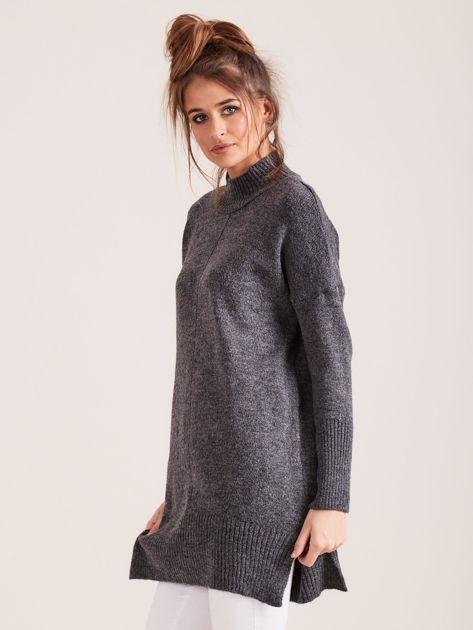 Ciemnoszary sweter damski z golfem                              zdj.                              3