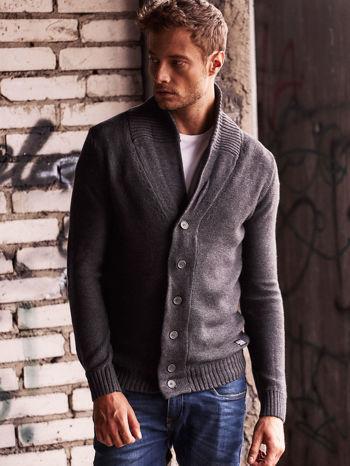 Ciemnoszary sweter męski zapinany na guziki FUNK N SOUL                                  zdj.                                  1