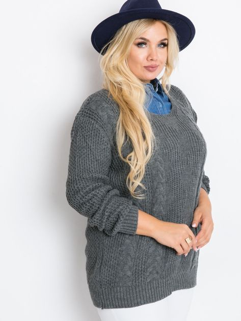 Ciemnoszary sweter plus size Ruffle