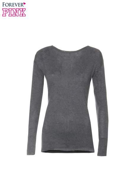 Ciemnoszary sweter z dłuższym tyłem i rozporkami po bokach                                  zdj.                                  5