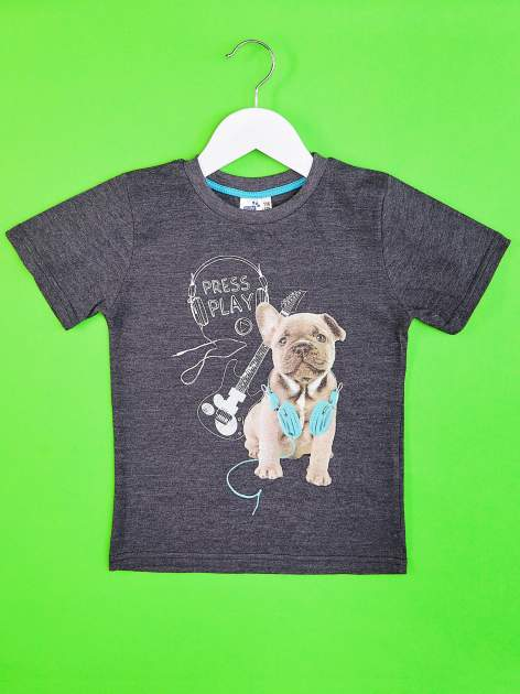 Ciemnoszary t-shirt chłopięcy ze szczeniaczkiem
