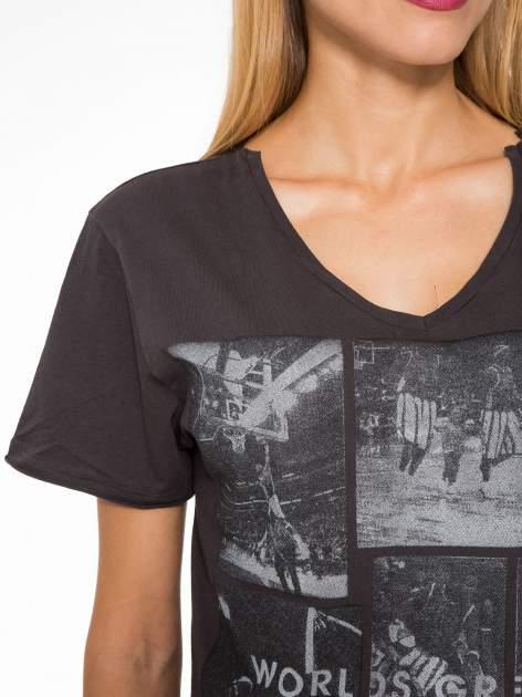 Ciemnoszary t-shirt cropped z nadrukiem basketball                                  zdj.                                  6