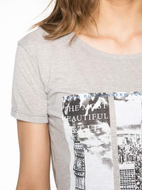 Ciemnoszary t-shirt z fotografiami miast                                  zdj.                                  5