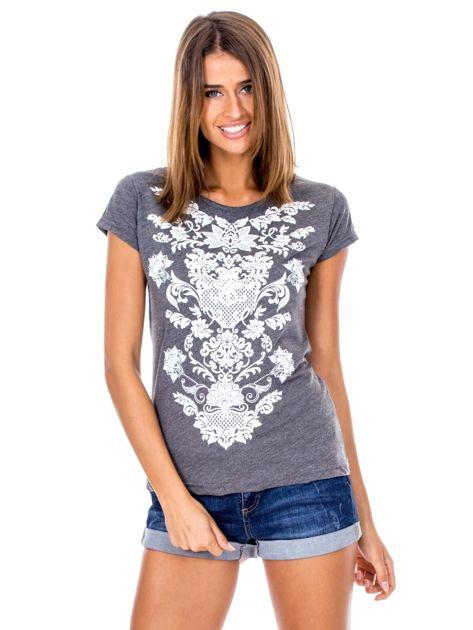 Ciemnoszary t-shirt z nadrukiem roślinnym                              zdj.                              1