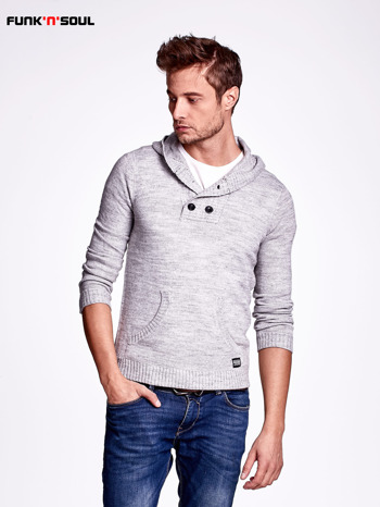 Ciemnoszary wełniany sweter męski z kieszenią z przodu FUNK N SOUL                                  zdj.                                  1
