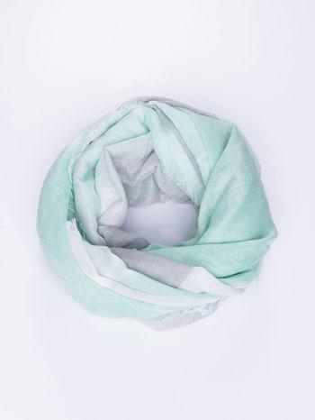 Ciemnozielona bawełniana chusta duża w pasy                                  zdj.                                  1