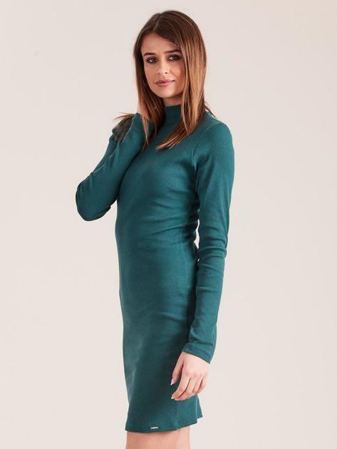 Ciemnozielona dopasowana sukienka z półgolfem                              zdj.                              3