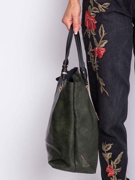 Ciemnozielona torba shopper                              zdj.                              3