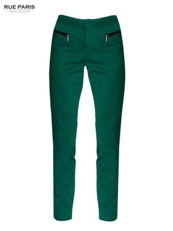 Ciemnozielone spodnie cygaretki ze skórzaną lamówką przy kieszeniach                                  zdj.                                  8