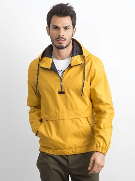 Ciemnożółta kurtka męska wiatrówka z kapturem