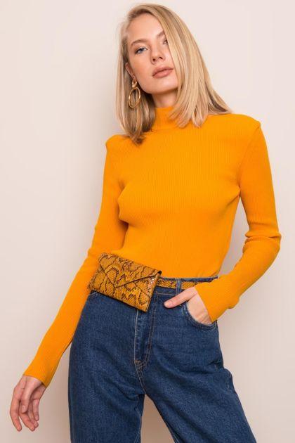 Ciemnożółty dopasowany sweter BSL