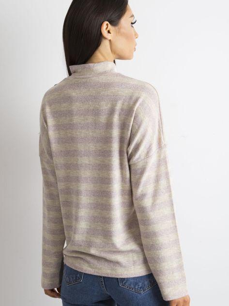 Cienki sweter w paski z półgolfem różowy                              zdj.                              2